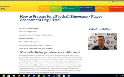Preparing for a showcase event / football trial – part 1 nutrition