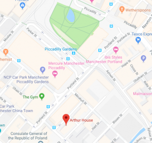 street map showing the location of Arthur House in relation to Piccadilly Gardens