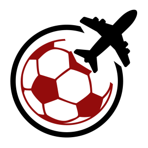 red football logo with jet plane in black