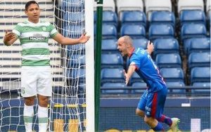 Head Coach at IHM at Ellesmere College, David Raven, celebrates after scoring the winning extra time goal that took Inverness CT into the Scottish Cup Final in 2015